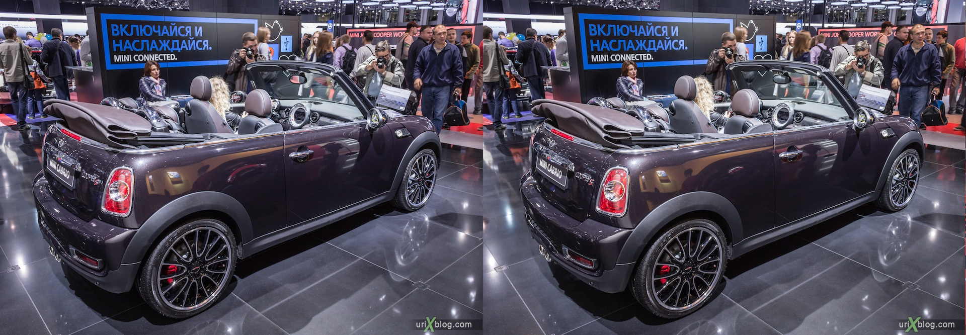 2012, Mini Cabrio, Moscow International Automobile Salon, auto show, 3D, stereo pair, cross-eyed, crossview