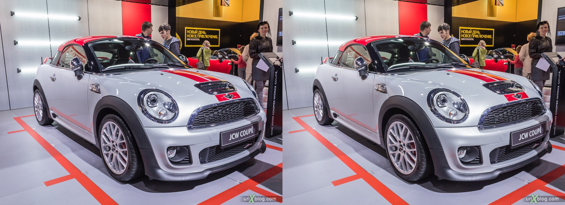 2012, JCW Coupe, Moscow International Automobile Salon, auto show, 3D, stereo pair, cross-eyed, crossview