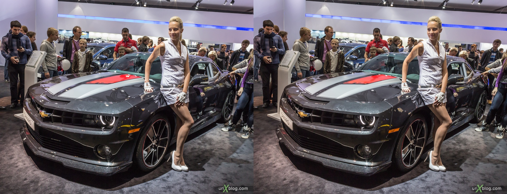2012, Chevrolet Camaro, girl, model, Moscow International Automobile Salon, auto show, 3D, stereo pair, cross-eyed, crossview
