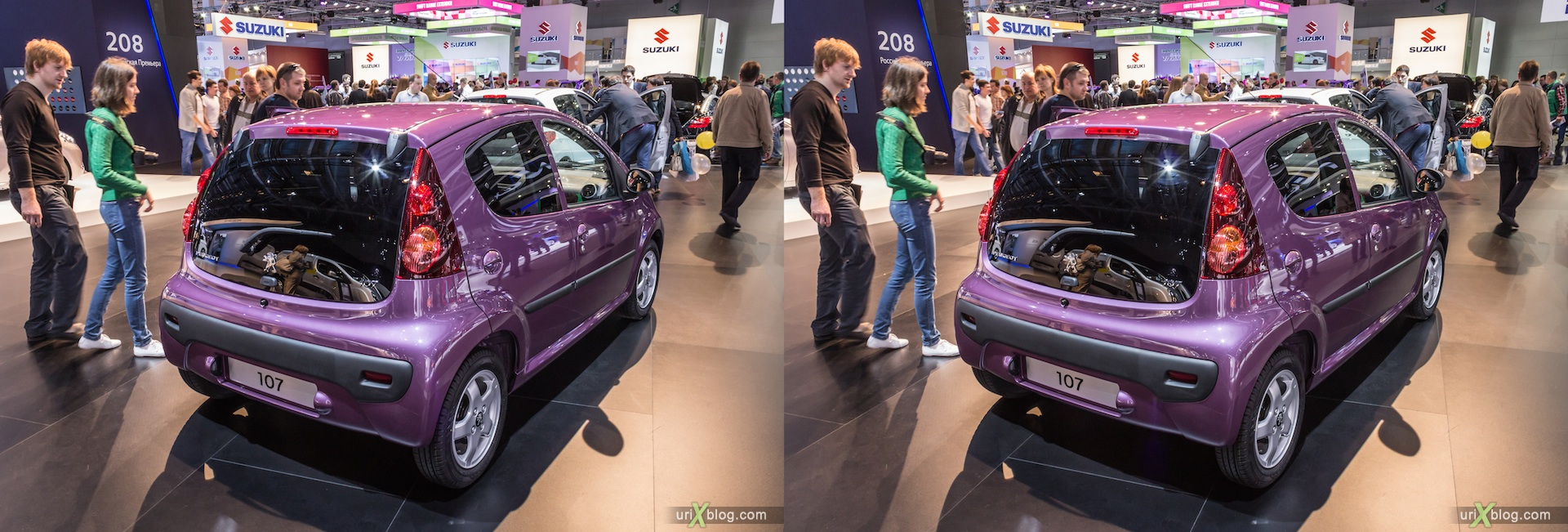 2012, Peugeot 107, Moscow International Automobile Salon, auto show, 3D, stereo pair, cross-eyed, crossview