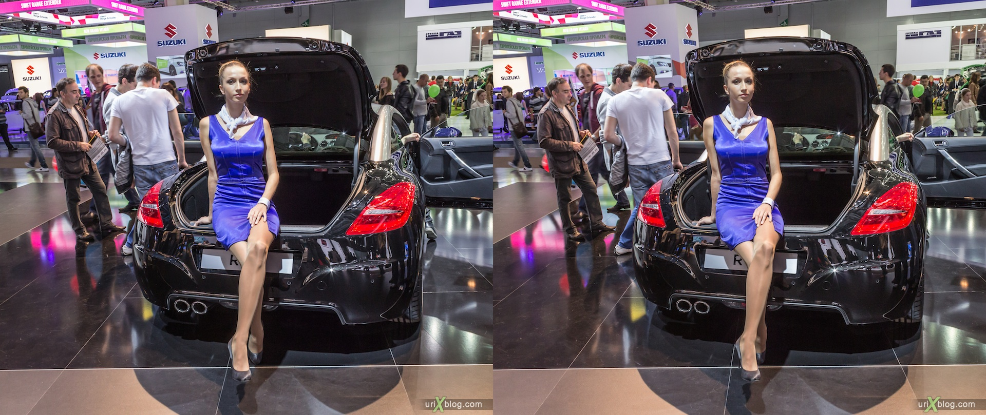 2012, Peugeot, girl, model, Moscow International Automobile Salon, auto show, 3D, stereo pair, cross-eyed, crossview