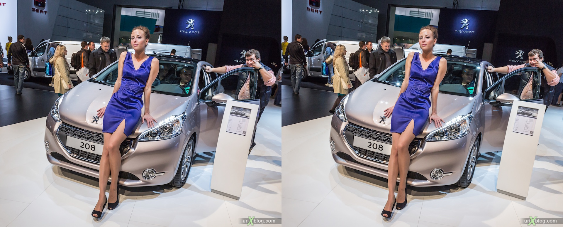 2012, Peugeot 208, girl, model, Moscow International Automobile Salon, auto show, 3D, stereo pair, cross-eyed, crossview