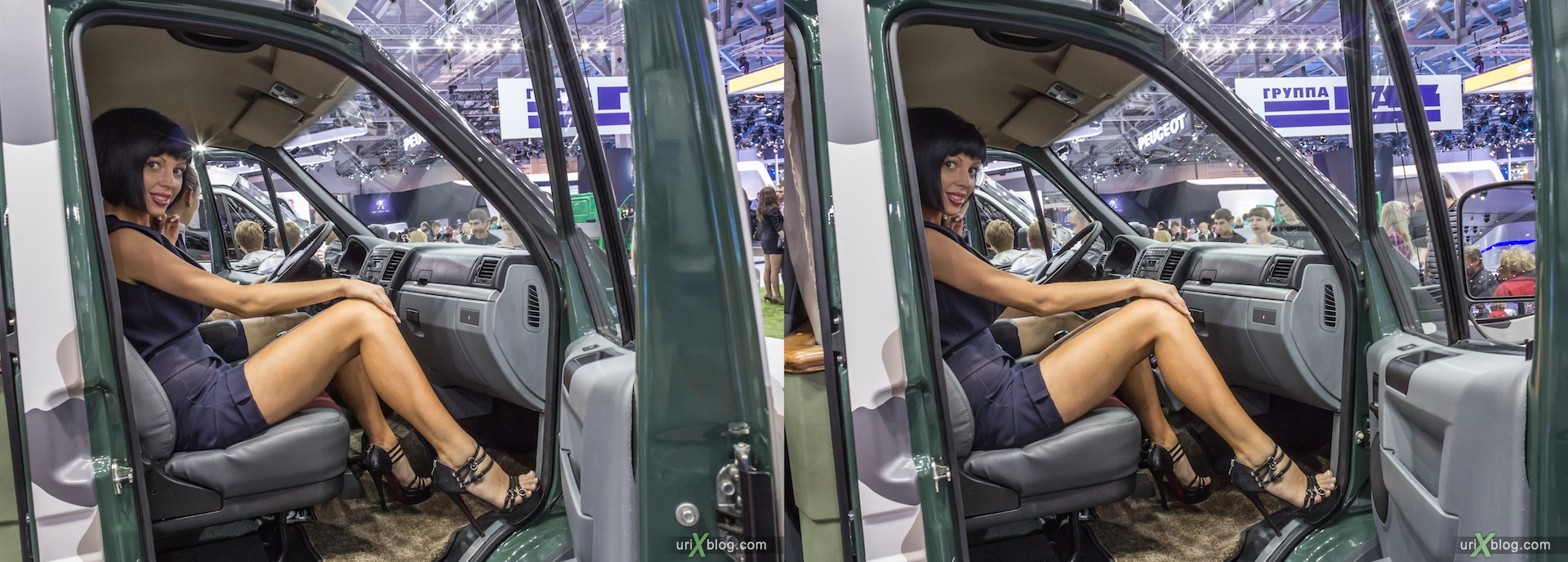 2012, ГАЗ, girl, model, Moscow International Automobile Salon, auto show, 3D, stereo pair, cross-eyed, crossview