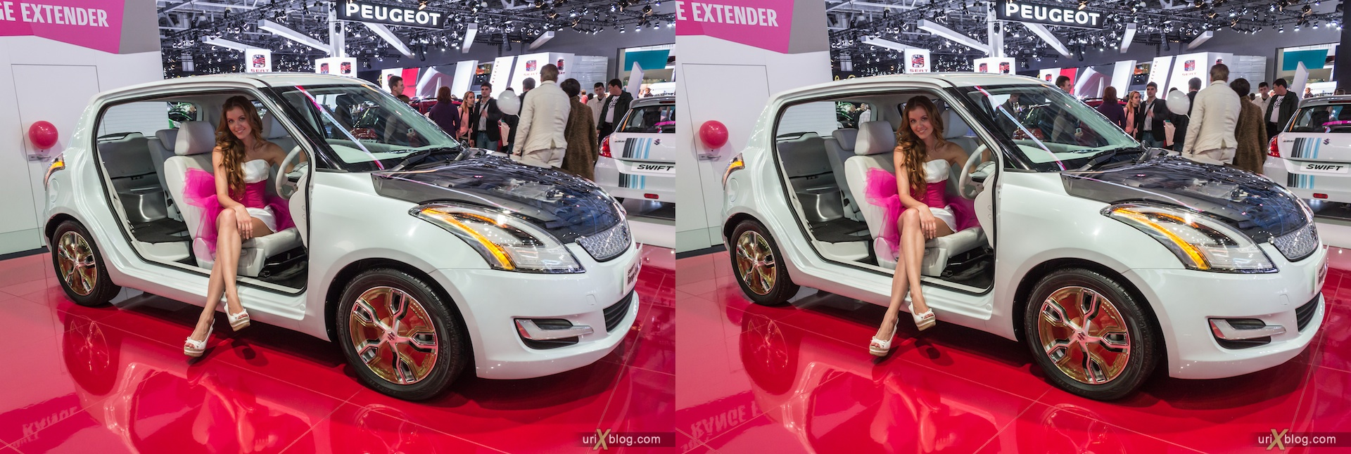 2012, Peugeot Swift, girl, model, Moscow International Automobile Salon, auto show, 3D, stereo pair, cross-eyed, crossview