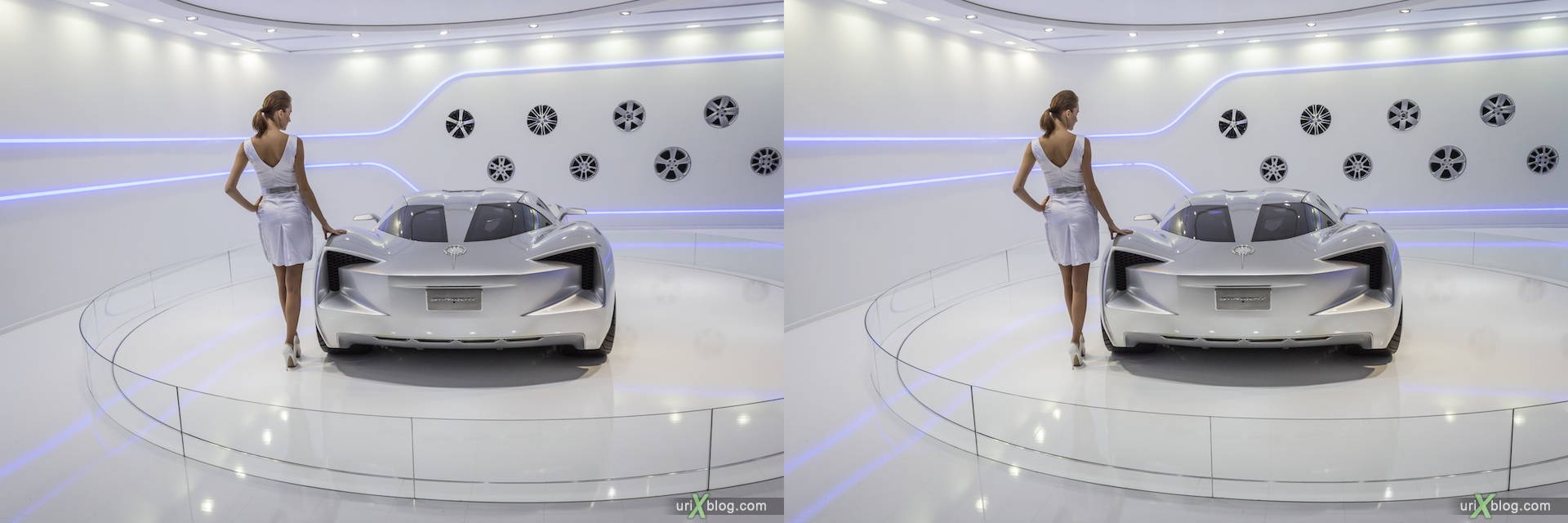 2012, Corvette Stingray, girl, model, Moscow International Automobile Salon, auto show, 3D, stereo pair, cross-eyed, crossview