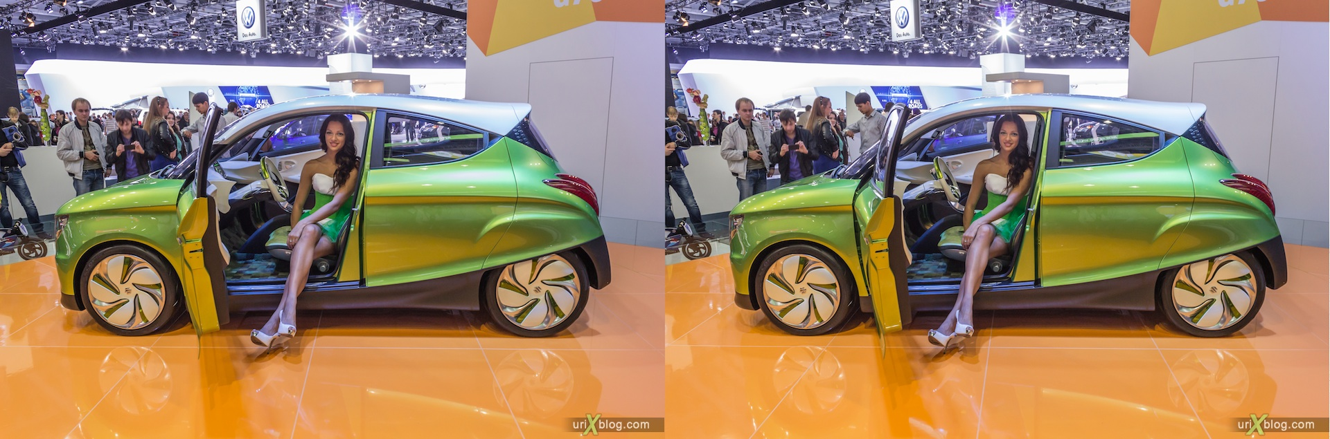 2012, Suzuki G70, girl, model, Moscow International Automobile Salon, auto show, 3D, stereo pair, cross-eyed, crossview