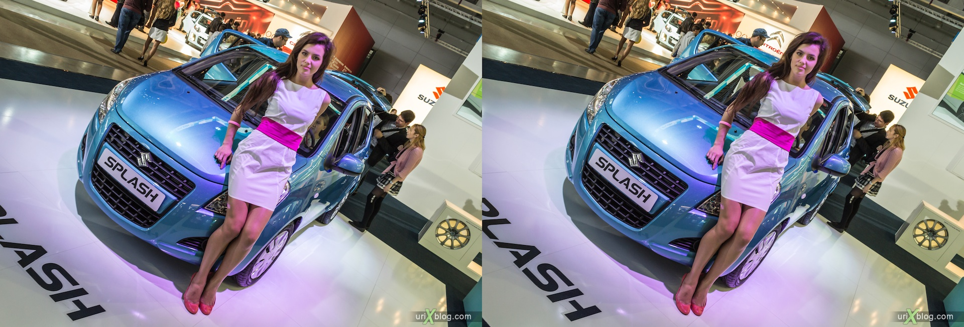 2012, Suzuki Splash, девушка, модель, Московский международный автомобильный салон, ММАС, Крокус Экспо, 3D, стерео, стереопара