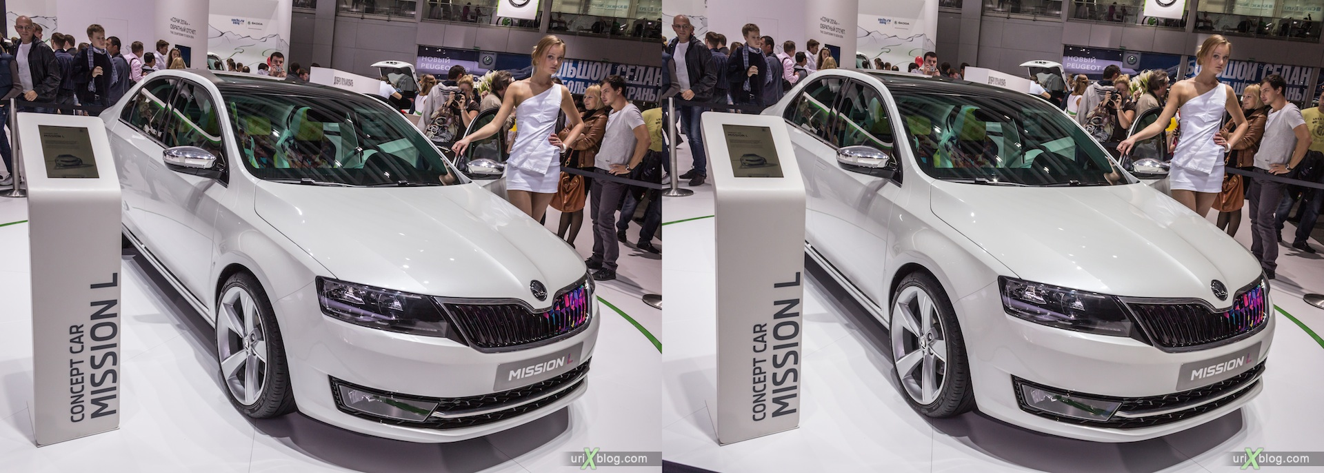 2012, Skoda Mission L, Moscow International Automobile Salon, auto show, 3D, stereo pair, cross-eyed, crossview