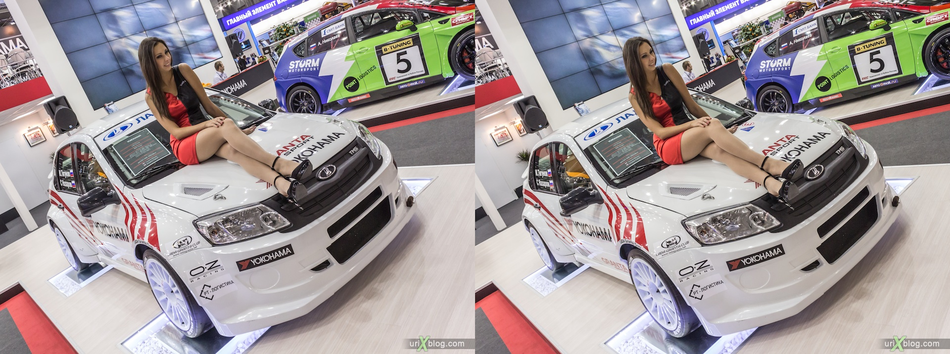 2012, Lada TMS Sport, girl, model, Moscow International Automobile Salon, auto show, 3D, stereo pair, cross-eyed, crossview