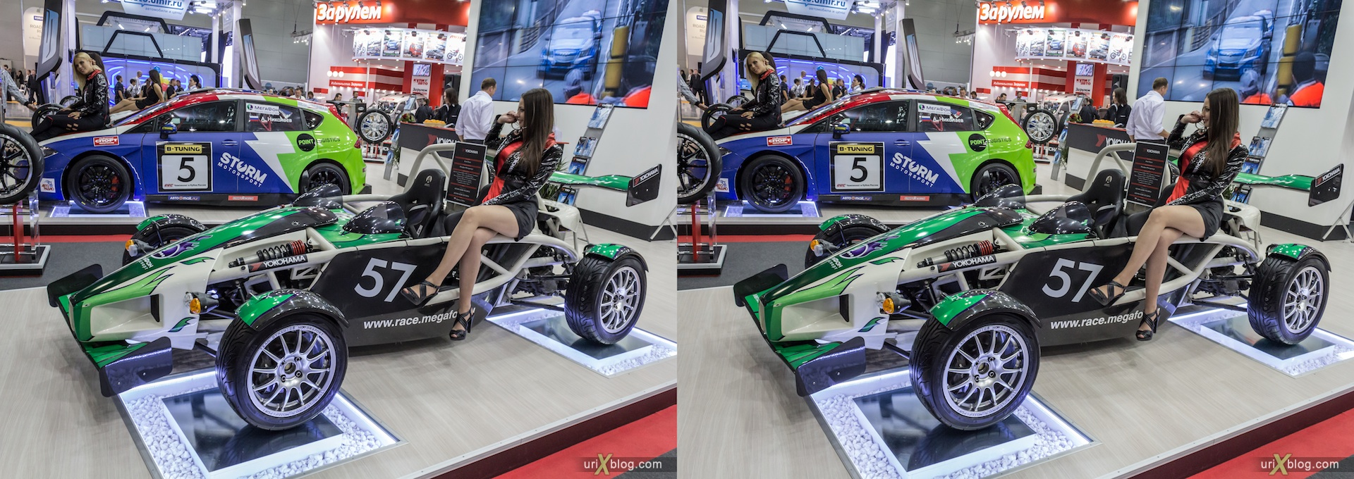2012, girl, model, Moscow International Automobile Salon, auto show, 3D, stereo pair, cross-eyed, crossview