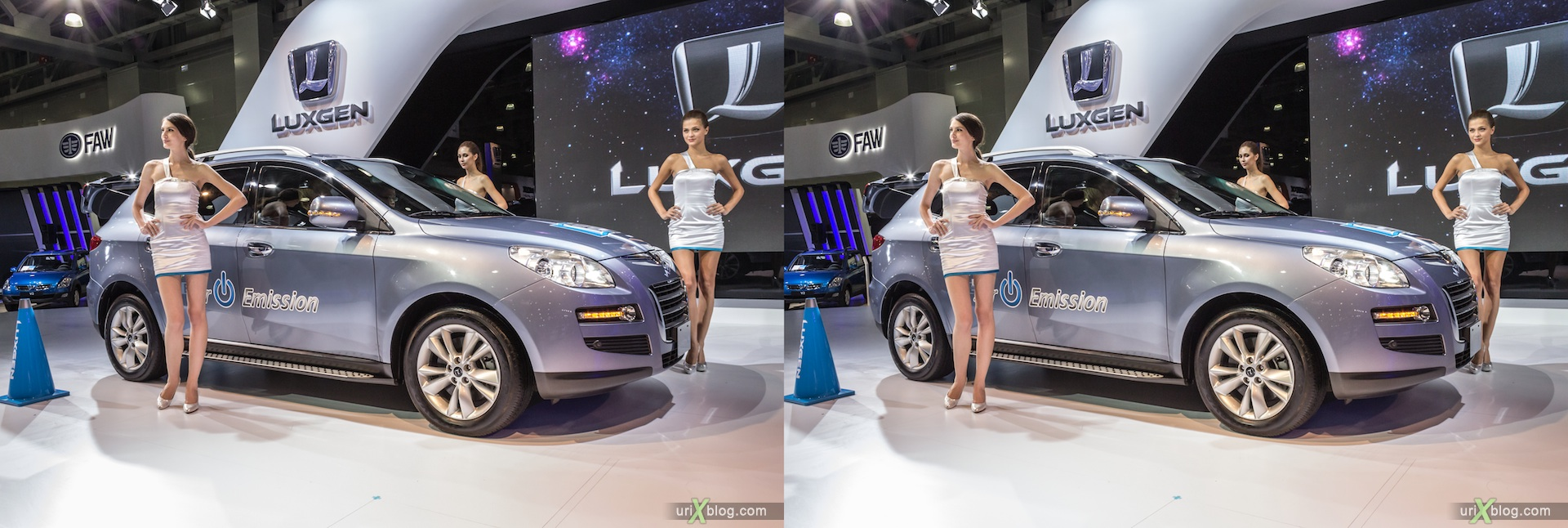 2012, Luxgen E, girl, model, Moscow International Automobile Salon, auto show, 3D, stereo pair, cross-eyed, crossview