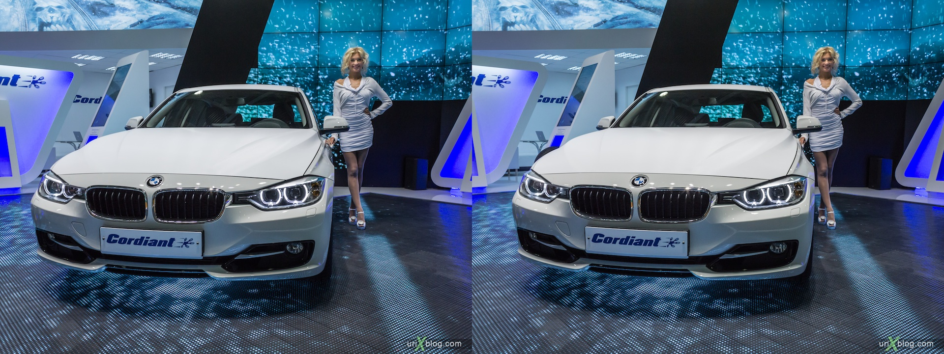 2012, BMW, girl, model, Moscow International Automobile Salon, auto show, 3D, stereo pair, cross-eyed, crossview