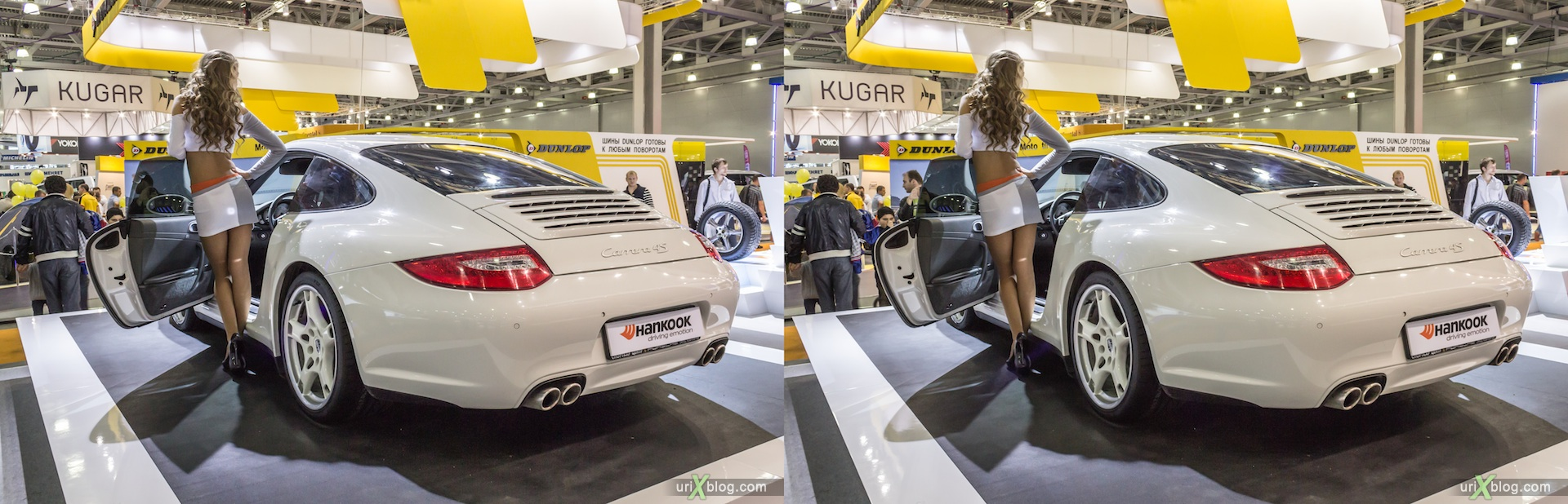 2012, Porsche Camera 4S, girl, model, Moscow International Automobile Salon, auto show, 3D, stereo pair, cross-eyed, crossview
