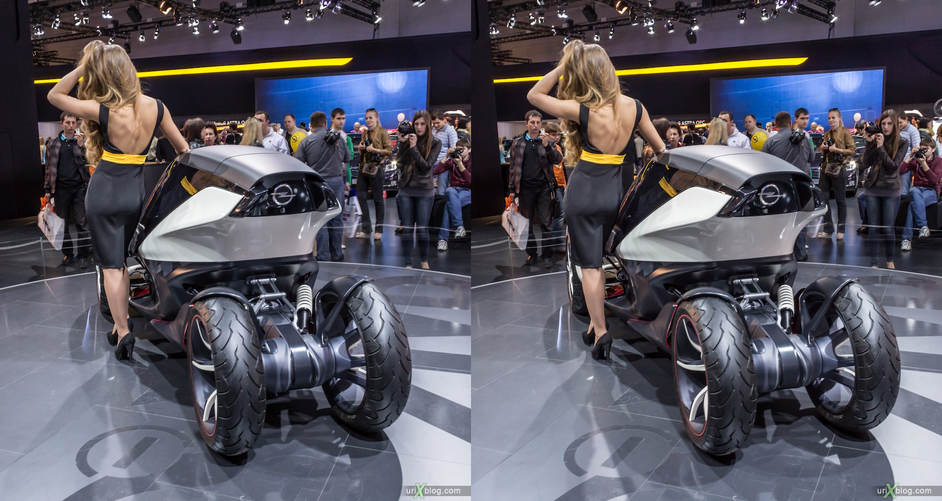 2012, Opel, Wir Leben Autos, girl, model, Moscow International Automobile Salon, auto show, 3D, stereo pair, cross-eyed, crossview