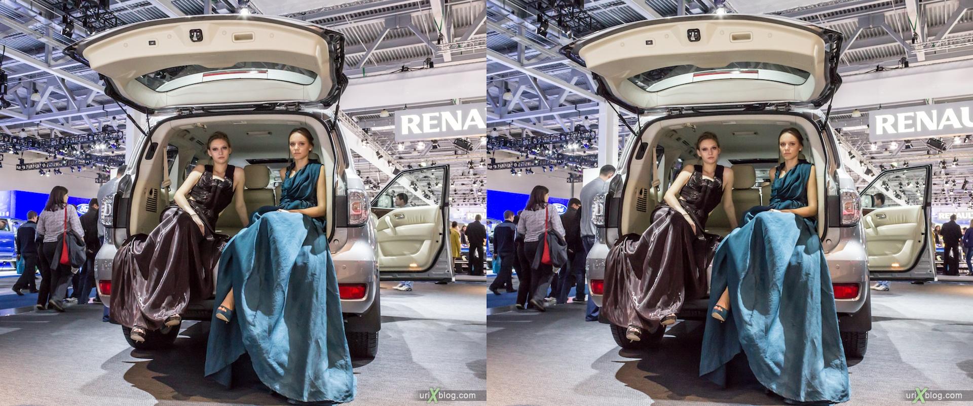 2012, девушки в багажнике, модель, Московский международный автомобильный салон, ММАС, Крокус Экспо, 3D, стерео, стереопара