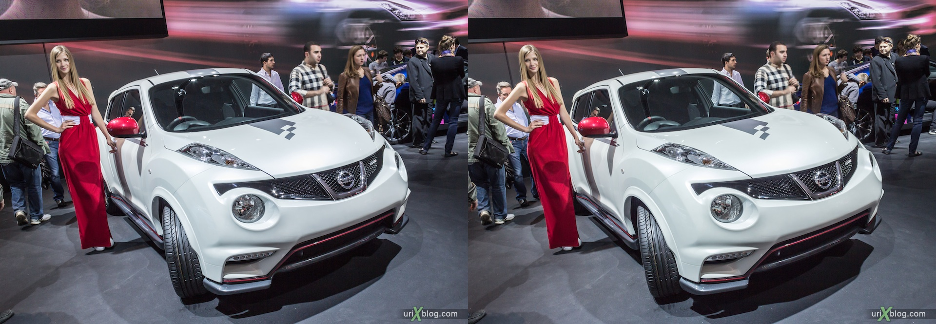 2012, Nissan, girl, model, Moscow International Automobile Salon, auto show, 3D, stereo pair, cross-eyed, crossview