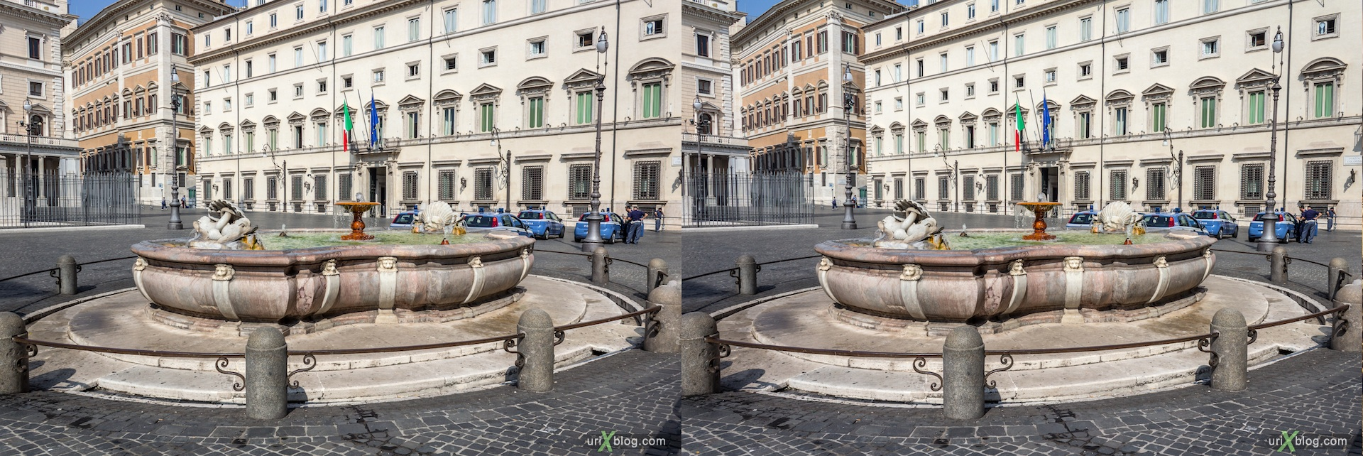 2012, fountain, Colonna square, Rome, Italy, 3D, stereo pair, cross-eyed, crossview, cross view stereo pair
