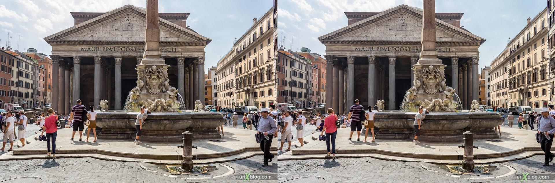 2012, фонтан, Piazza della Rotonda, Пантеон, Рим, Италия, 3D, перекрёстные стереопары, стерео, стереопара, стереопары