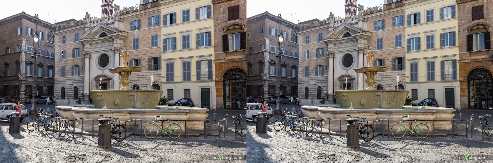 2012, фонтан, площадь Farnese, Рим, Италия, 3D, перекрёстные стереопары, стерео, стереопара, стереопары