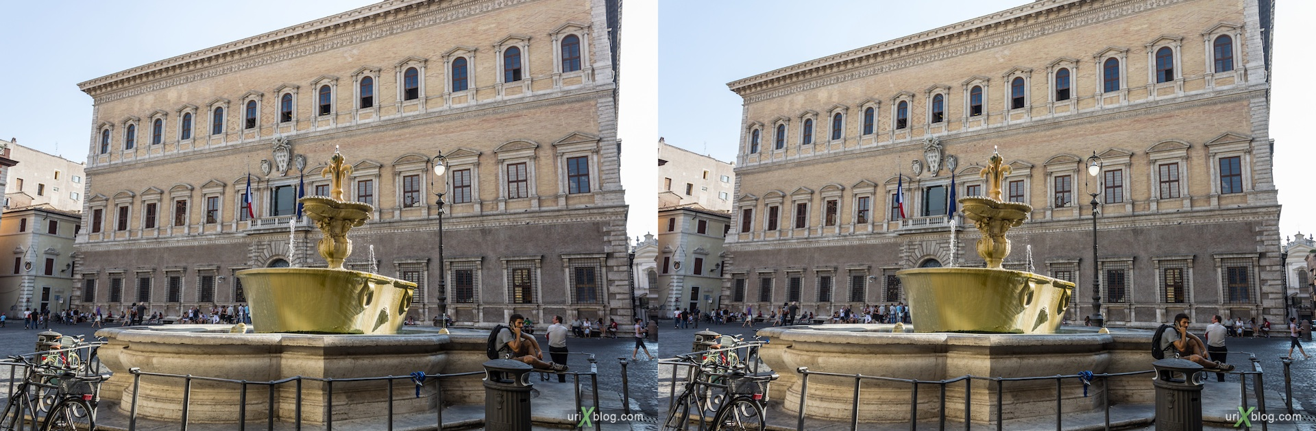 2012, fountain, Farnese square, Rome, Italy, 3D, stereo pair, cross-eyed, crossview, cross view stereo pair