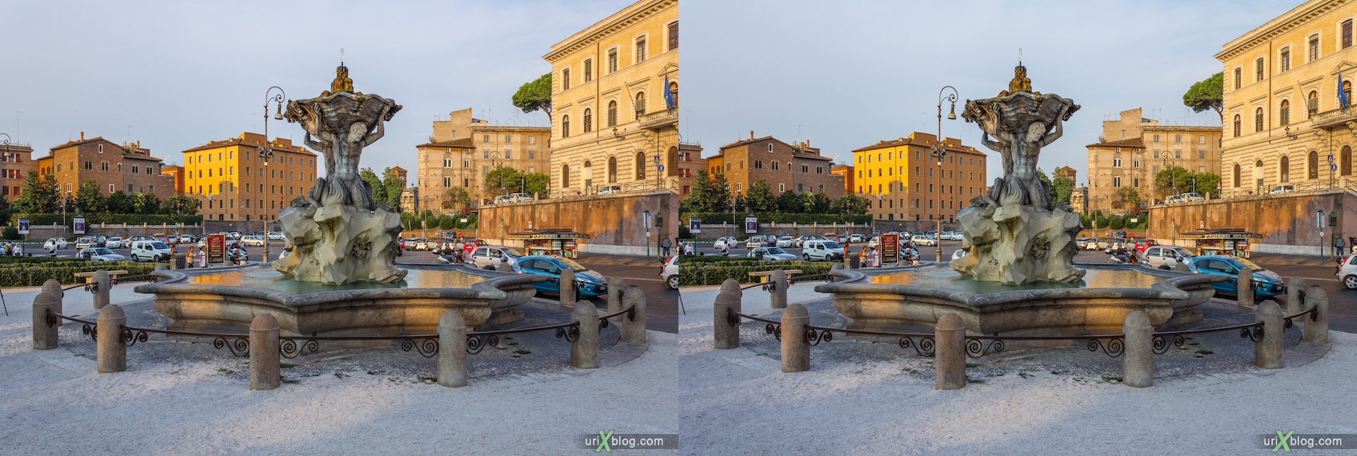 2012, fountain of the Tritons, Forum Boarium, Rome, Italy, 3D, stereo pair, cross-eyed, crossview, cross view stereo pair