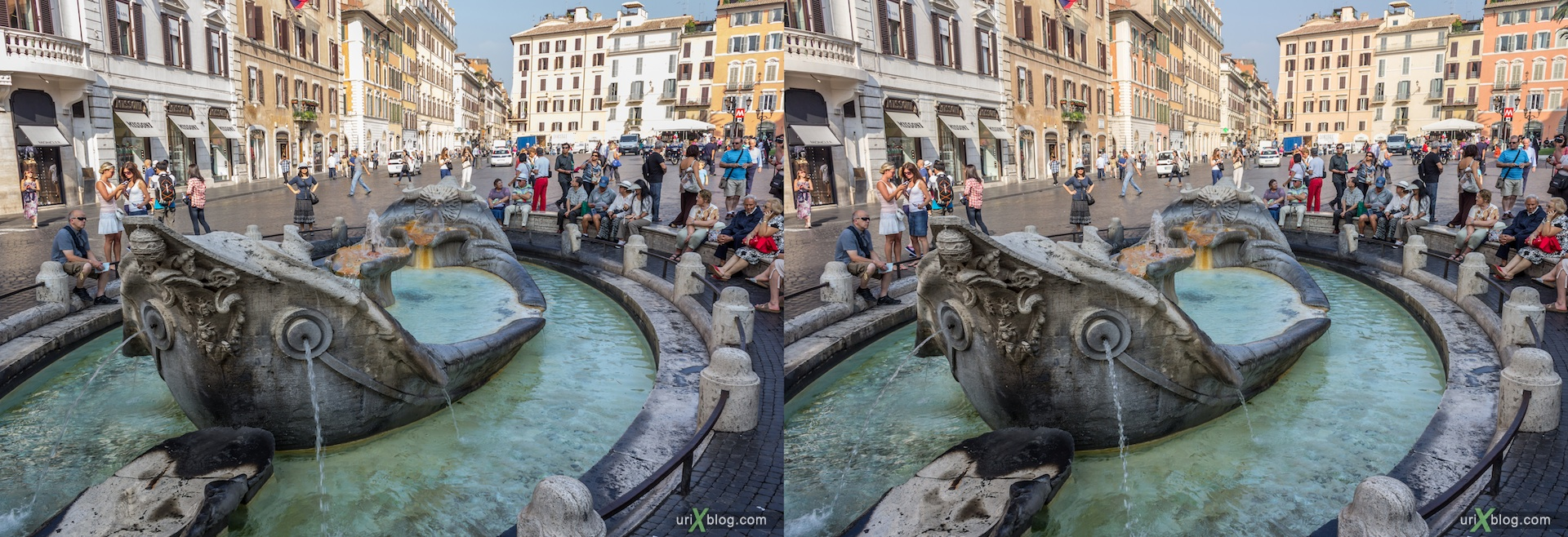 2012, fountain of the Old Boat, Spanish square, Rome, Italy, 3D, stereo pair, cross-eyed, crossview, cross view stereo pair