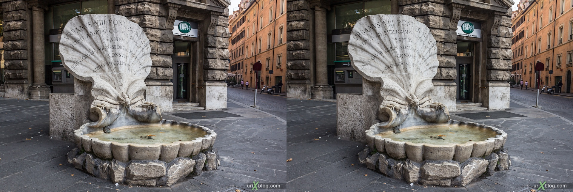 2012, fountain of Bees, Barberini square, Rome, Italy, 3D, stereo pair, cross-eyed, crossview, cross view stereo pair