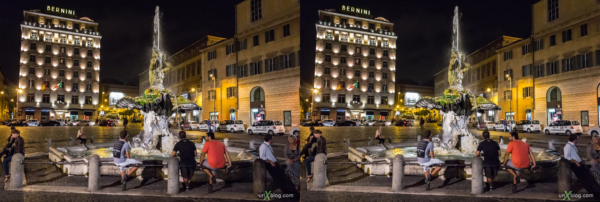2012, Triton fountain, Barberini square, Rome, Italy, 3D, stereo pair, cross-eyed, crossview, cross view stereo pair