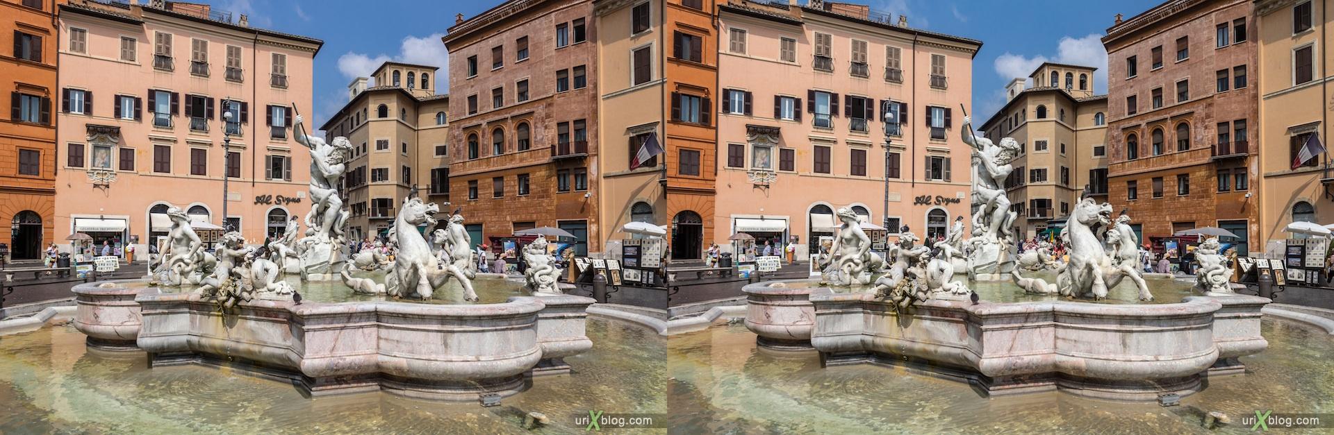 2012, фонтан Нептуна, площадь Навона, Рим, Италия, 3D, перекрёстные стереопары, стерео, стереопара, стереопары