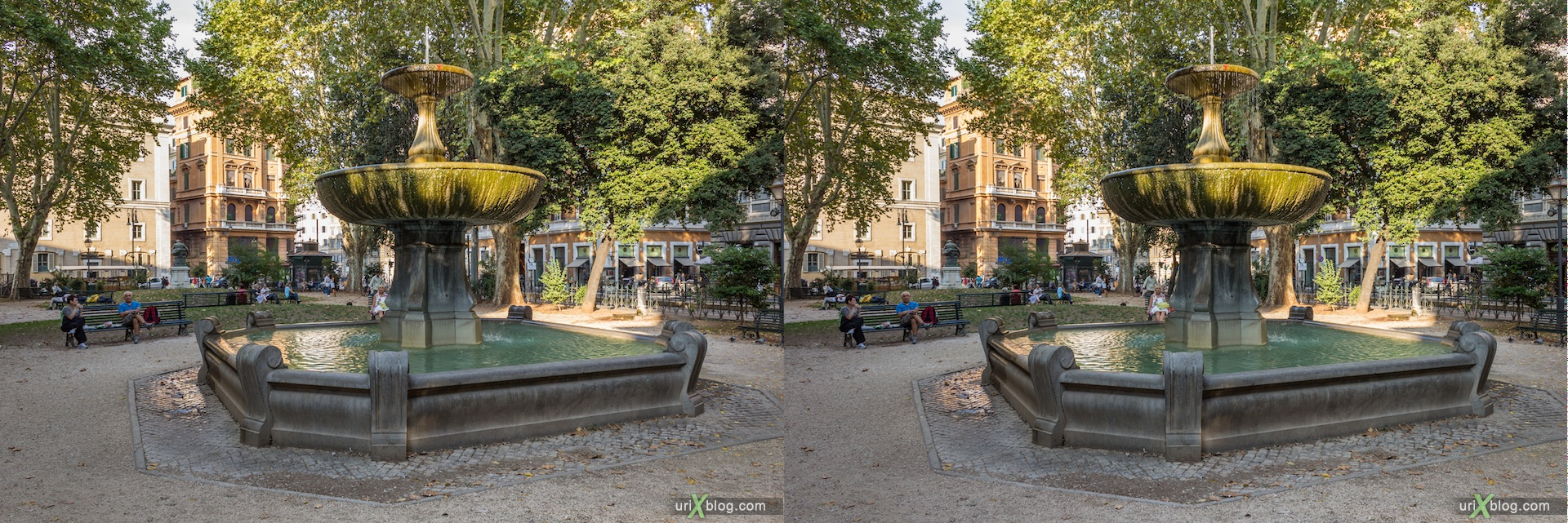 2012, fountain Cairoli, Rome, Italy, 3D, stereo pair, cross-eyed, crossview, cross view stereo pair