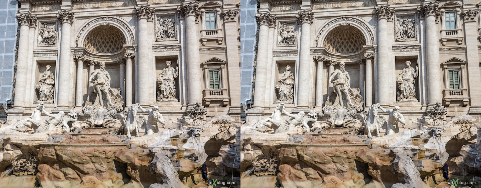 2012, Trevi fountain, Rome, Italy, 3D, stereo pair, cross-eyed, crossview, cross view stereo pair
