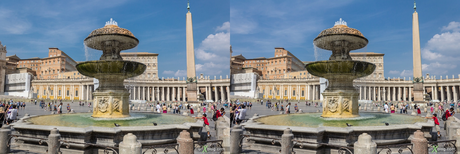 2012, southern fountain, Saint Peter's Basilica, square, Vatican, Rome, Italy, 3D, stereo pair, cross-eyed, crossview, cross view stereo pair