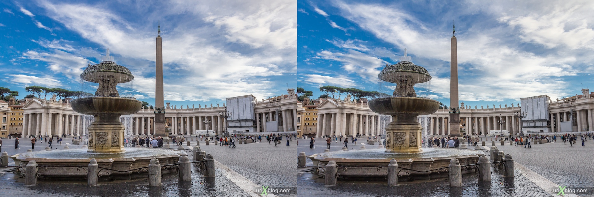 2012, northern fountain, Saint Peter's Basilica, square, Vatican, Rome, Italy, 3D, stereo pair, cross-eyed, crossview, cross view stereo pair