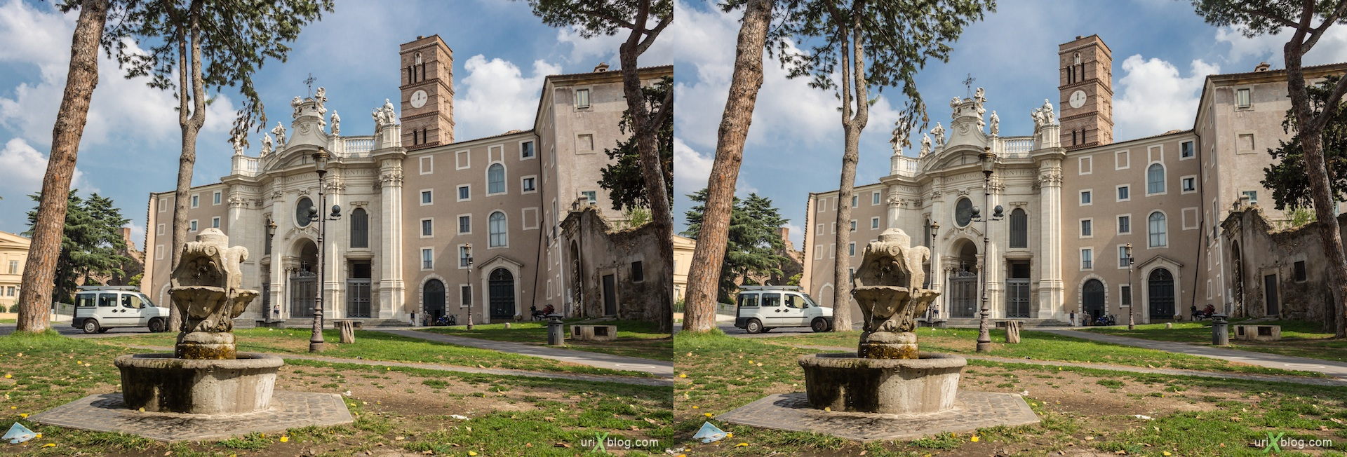 2012, Saint Cross in Jerusalem fountain, square, Rome, Italy, 3D, stereo pair, cross-eyed, crossview, cross view stereo pair