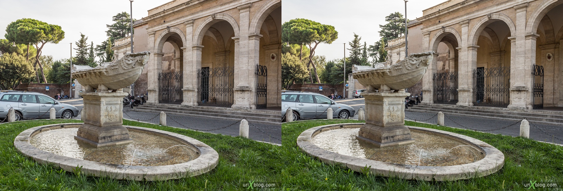 2012, fountain, Nacelle, Navicella, Church of Santa Maria in Domnica alla Navicella, Rome, Italy, 3D, stereo pair, cross-eyed, crossview, cross view stereo pair