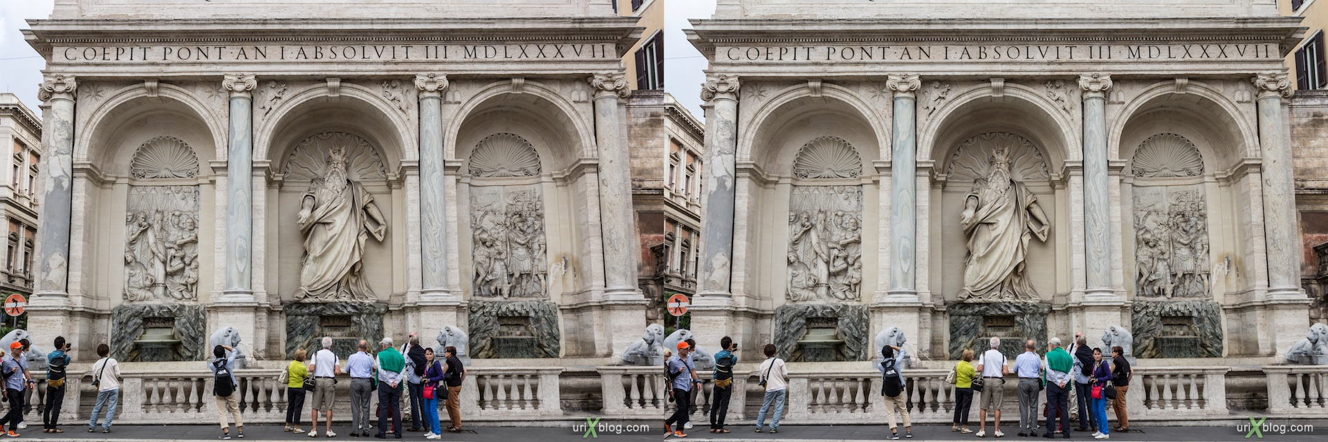 2012, dell'acqua Felice fountain, San Bernardo square, Rome, Italy, 3D, stereo pair, cross-eyed, crossview, cross view stereo pair