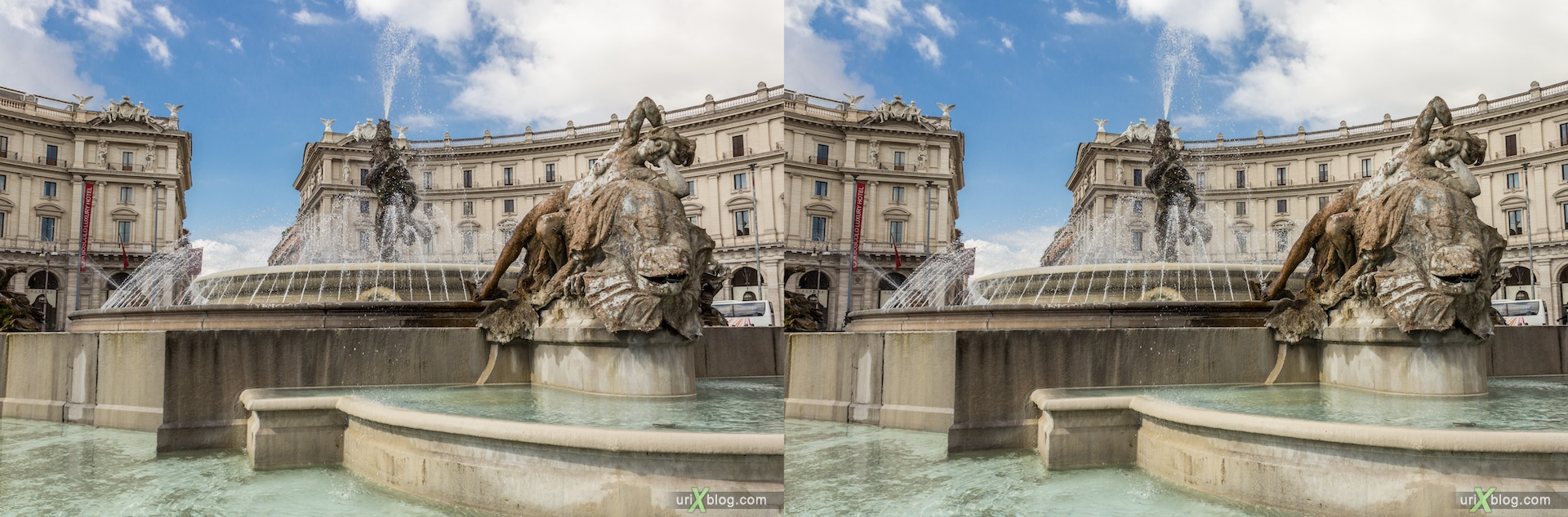 2012, fountain of the Naiads, Piazza della Repubblica, Rome, Italy, 3D, stereo pair, cross-eyed, crossview, cross view stereo pair