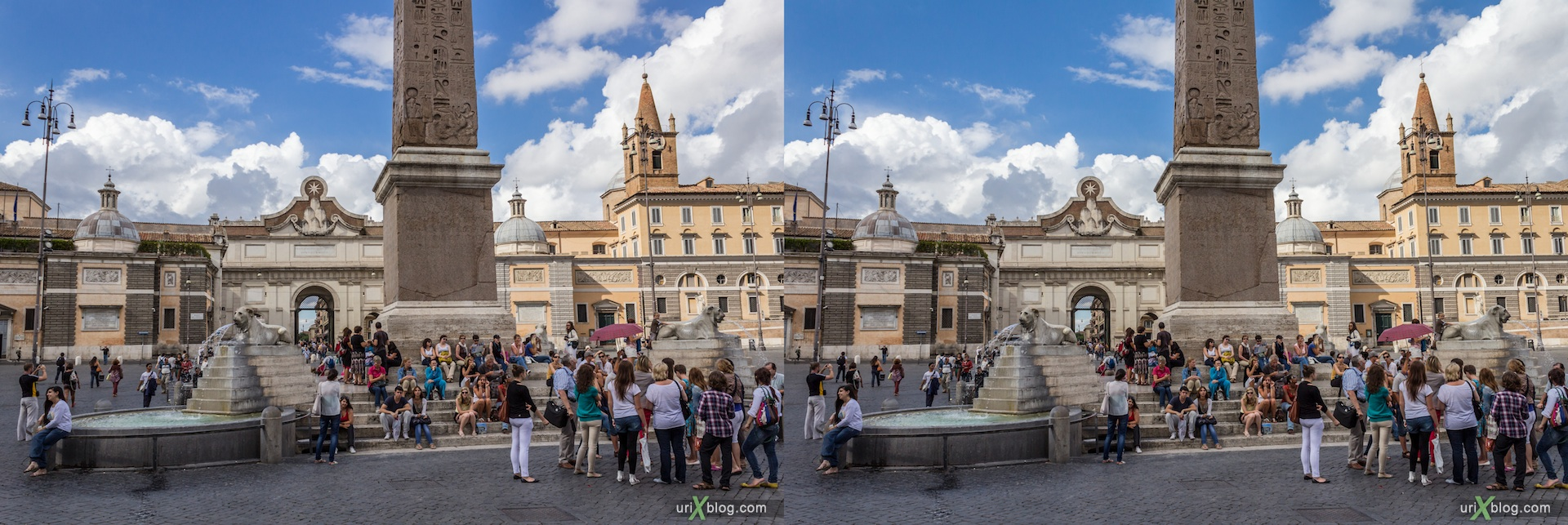 2012, fountain, Flaminio obelisk, Popolo square, Rome, Italy, 3D, stereo pair, cross-eyed, crossview, cross view stereo pair