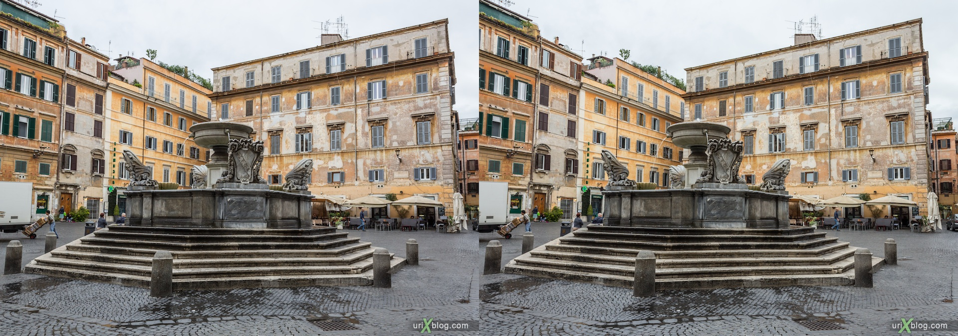 2012, fountain, Santa Maria in Trastevere, square, church, Rome, Italy, 3D, stereo pair, cross-eyed, crossview, cross view stereo pair