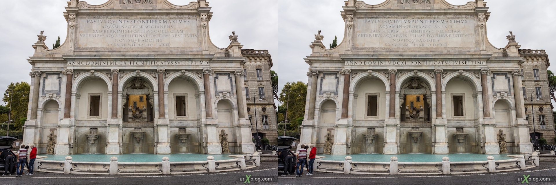 2012, dell'Acqua Paola fountain, Rome, Italy, 3D, stereo pair, cross-eyed, crossview, cross view stereo pair