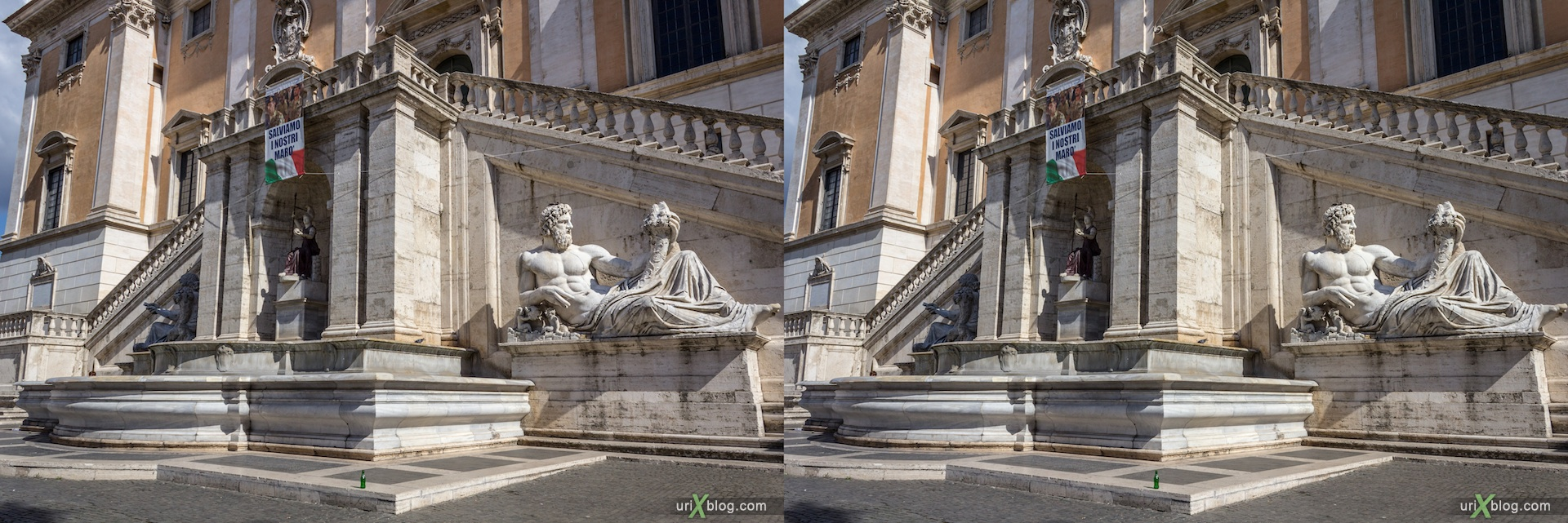 2012, fountain, Capitoline Square, Rome, Italy, 3D, stereo pair, cross-eyed, crossview, cross view stereo pair