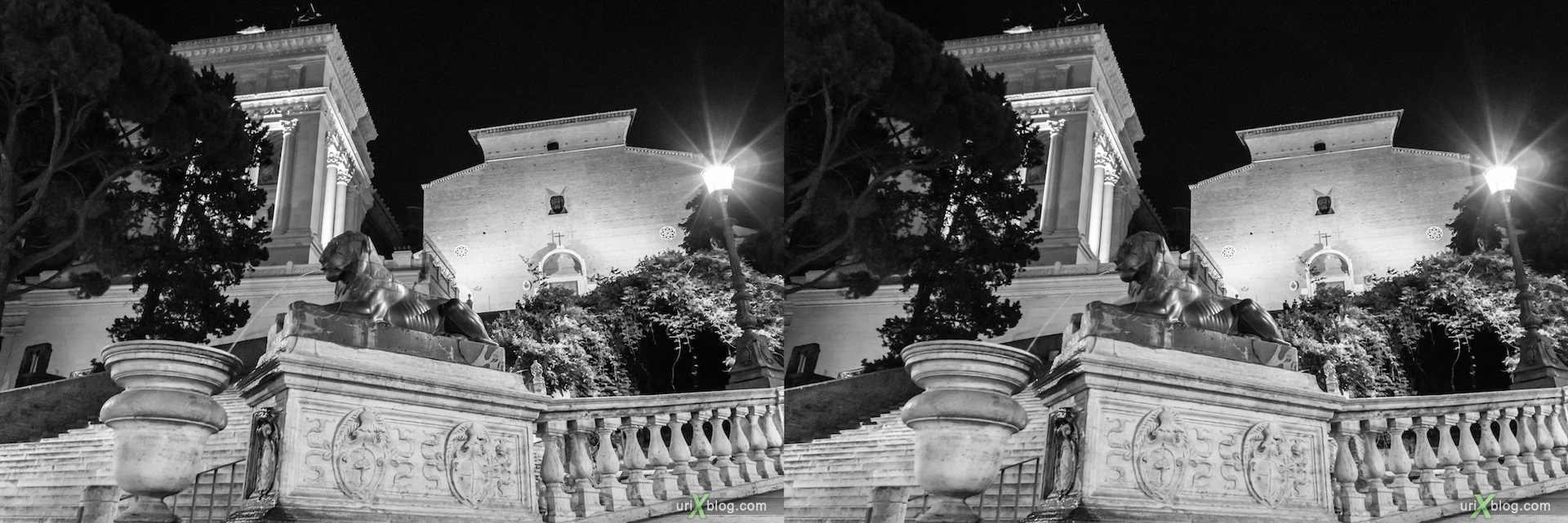 2012, fountain, lion, Capitoline museum, Vittoriano, Rome, Italy, 3D, stereo pair, cross-eyed, crossview, cross view stereo pair