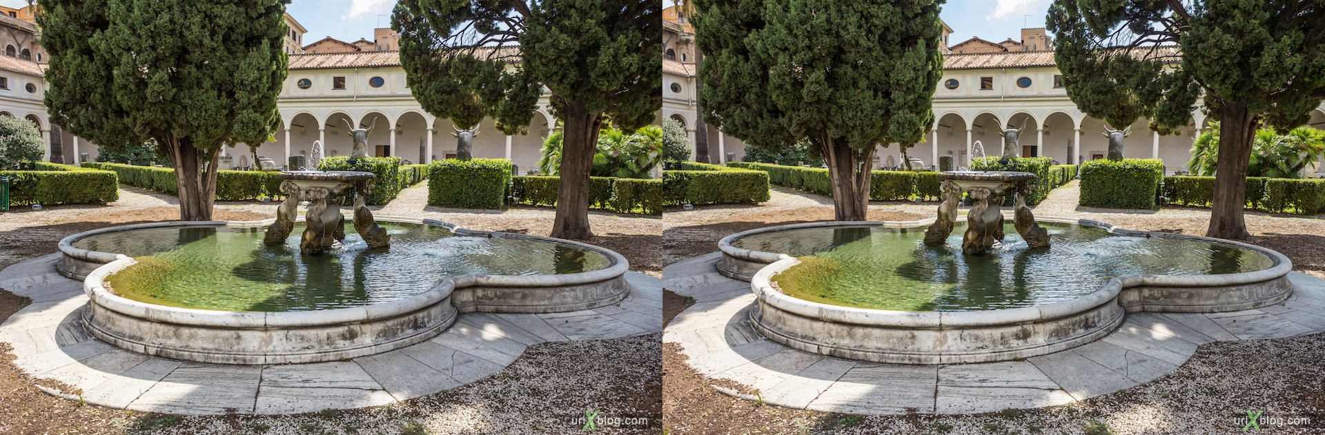 2012, fountain, National Museum of Rome, Diocletian's Baths, Rome, Italy, 3D, stereo pair, cross-eyed, crossview, cross view stereo pair