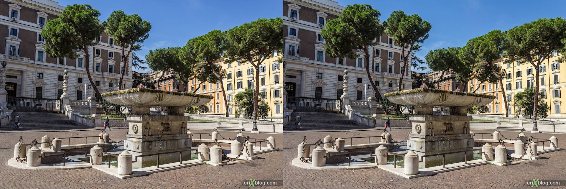 2012, fountain, Piazza del Viminale, Rome, Italy, 3D, stereo pair, cross-eyed, crossview, cross view stereo pair