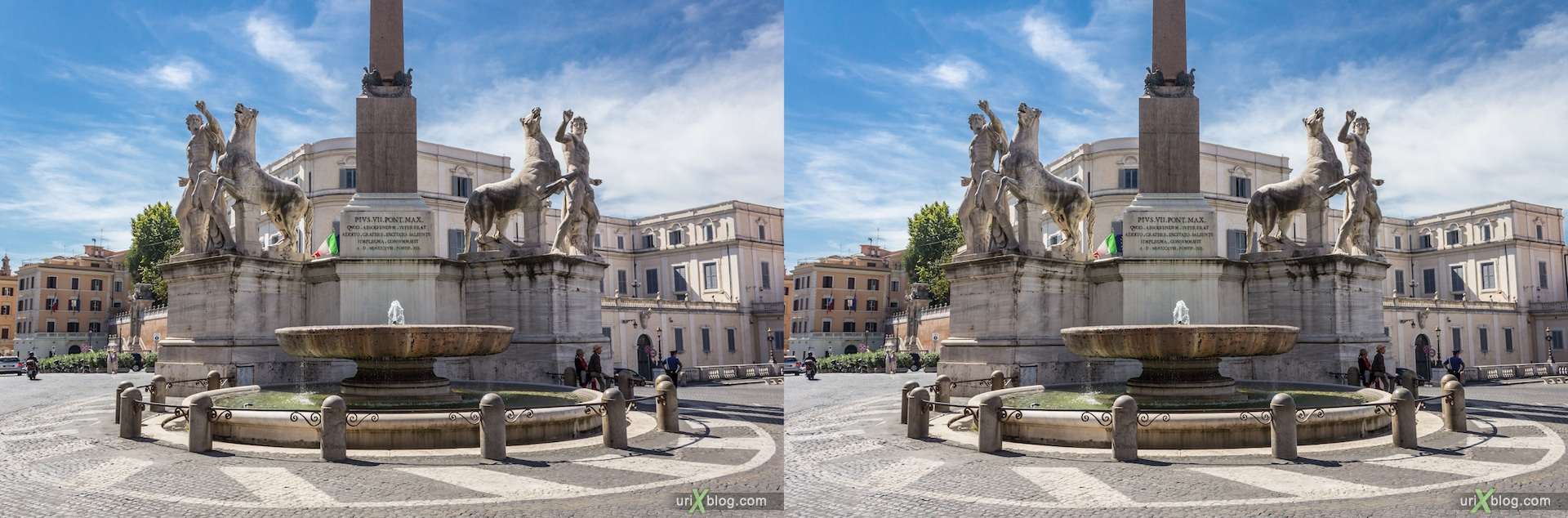 2012, fountain, Fontana dei Dioscuri, Quirinale obelisk, Piazza del Quirinale, Rome, Italy, 3D, stereo pair, cross-eyed, crossview, cross view stereo pair