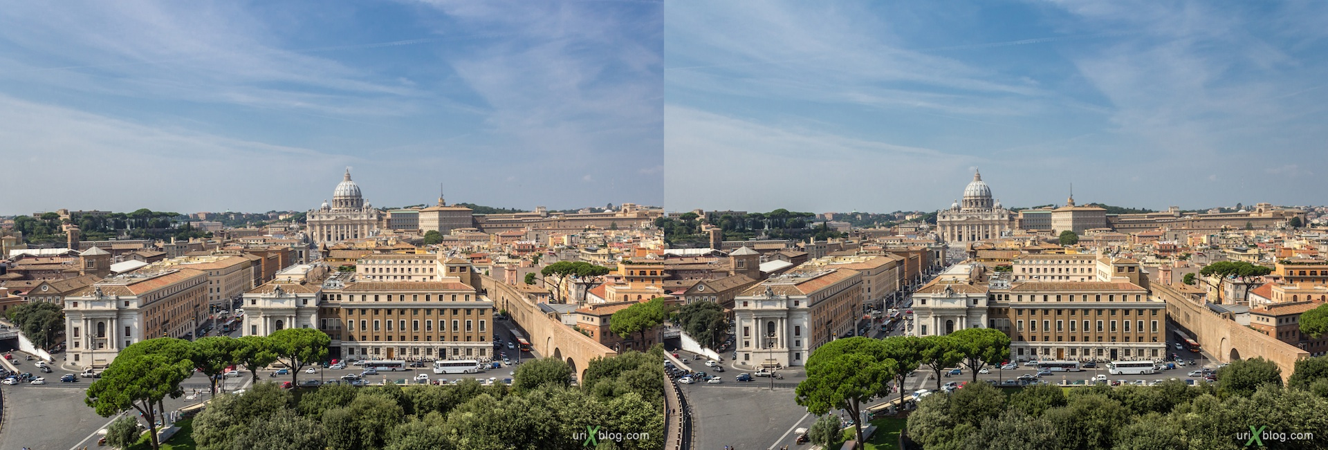 2012, Vatican, Castel Sant' Angelo, Mausoleum of Hadrian, Rome, Italy, 3D, stereo pair, cross-eyed, crossview, cross view stereo pair