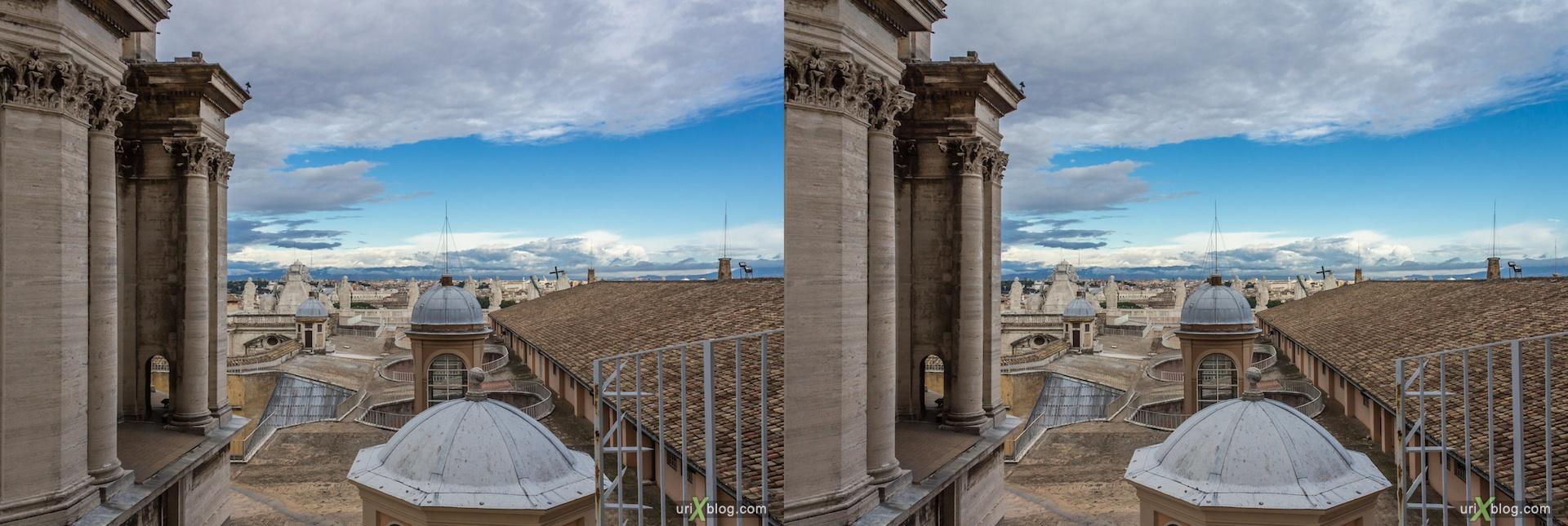 2012, собор Святого Петра, Ватикан, Рим, Италия, 3D, перекрёстные стереопары, стерео, стереопара, стереопары