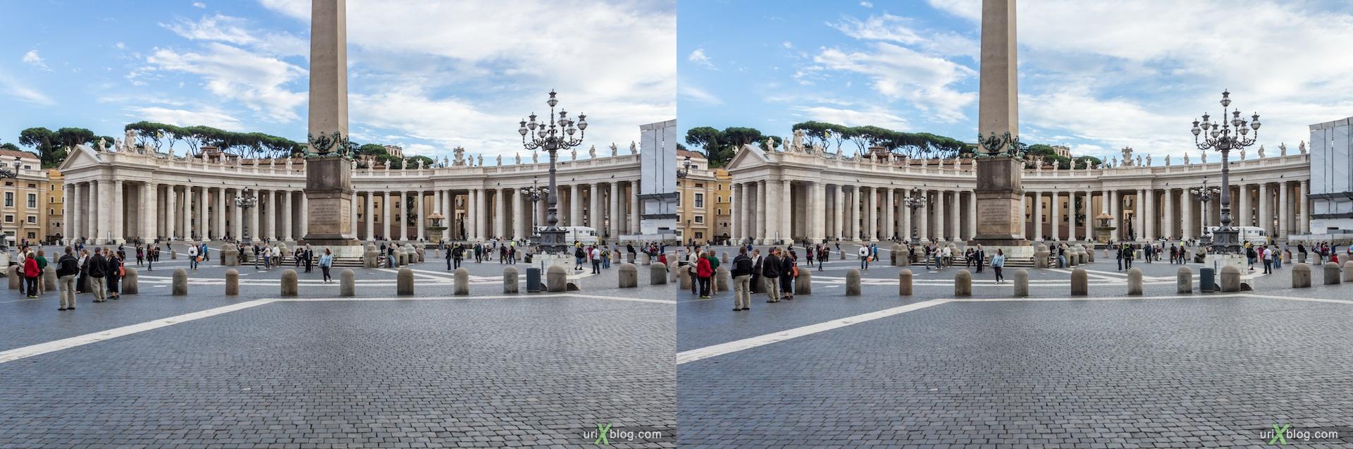 2012, Площадь Святого Петра, Ватикан, Рим, Италия, 3D, перекрёстные стереопары, стерео, стереопара, стереопары