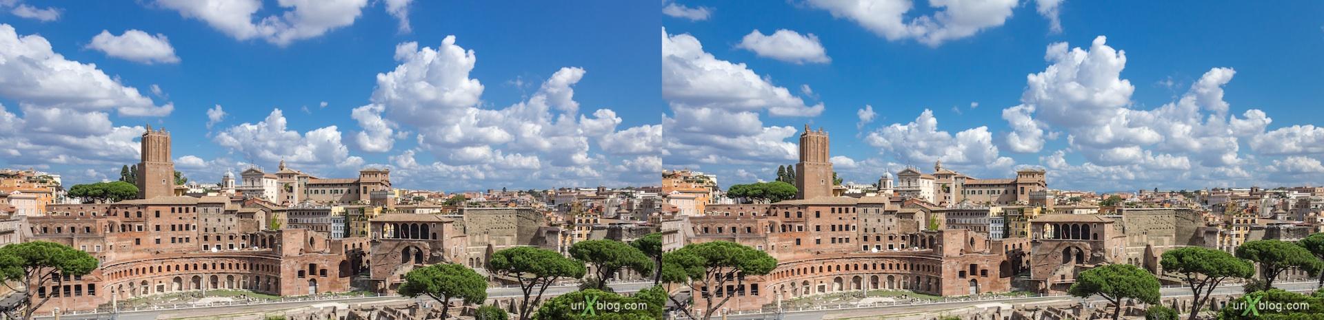 2012, форум Траяна, Римский форум, Палатинский холм, город, раскопки, древний Рим, Италия, 3D, перекрёстные стереопары, стерео, стереопара, стереопары