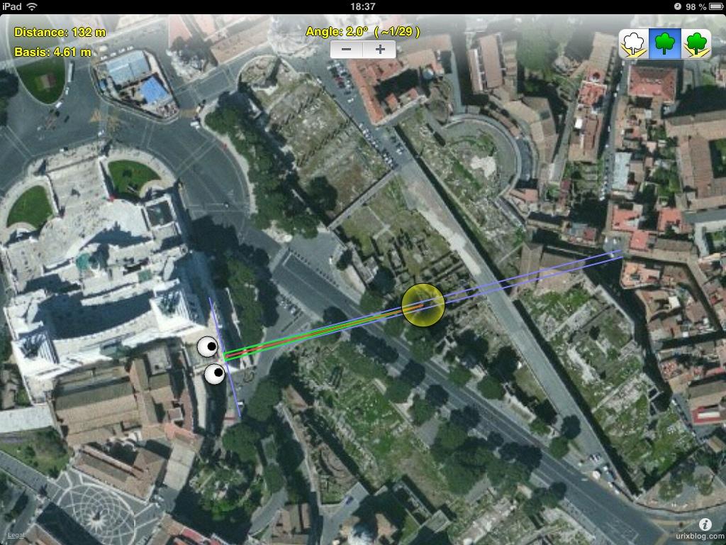2012, схема съёмки, Hyper Stereo Helper, приложение, Римский форум, Палатинский холм, город, раскопки, древний Рим, Италия, 3D, перекрёстные стереопары, стерео, стереопара, стереопары, скриншот